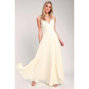 Lulu's All About Love Cream Maxi Dress Small NWT